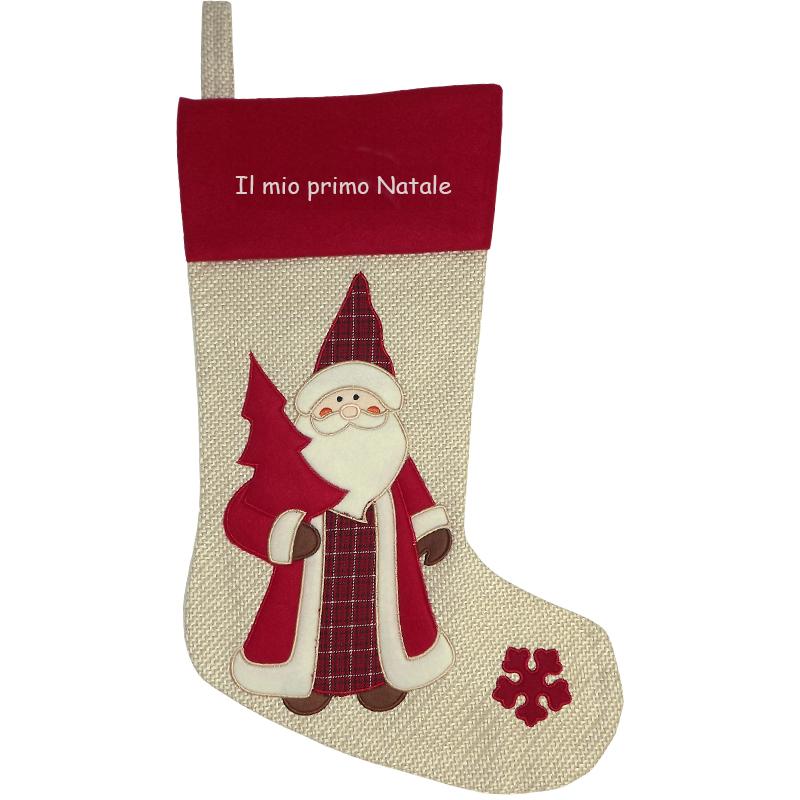 calza natalizia in iuta personalizzata idee regalo originale angolodelregalo. Black Bedroom Furniture Sets. Home Design Ideas