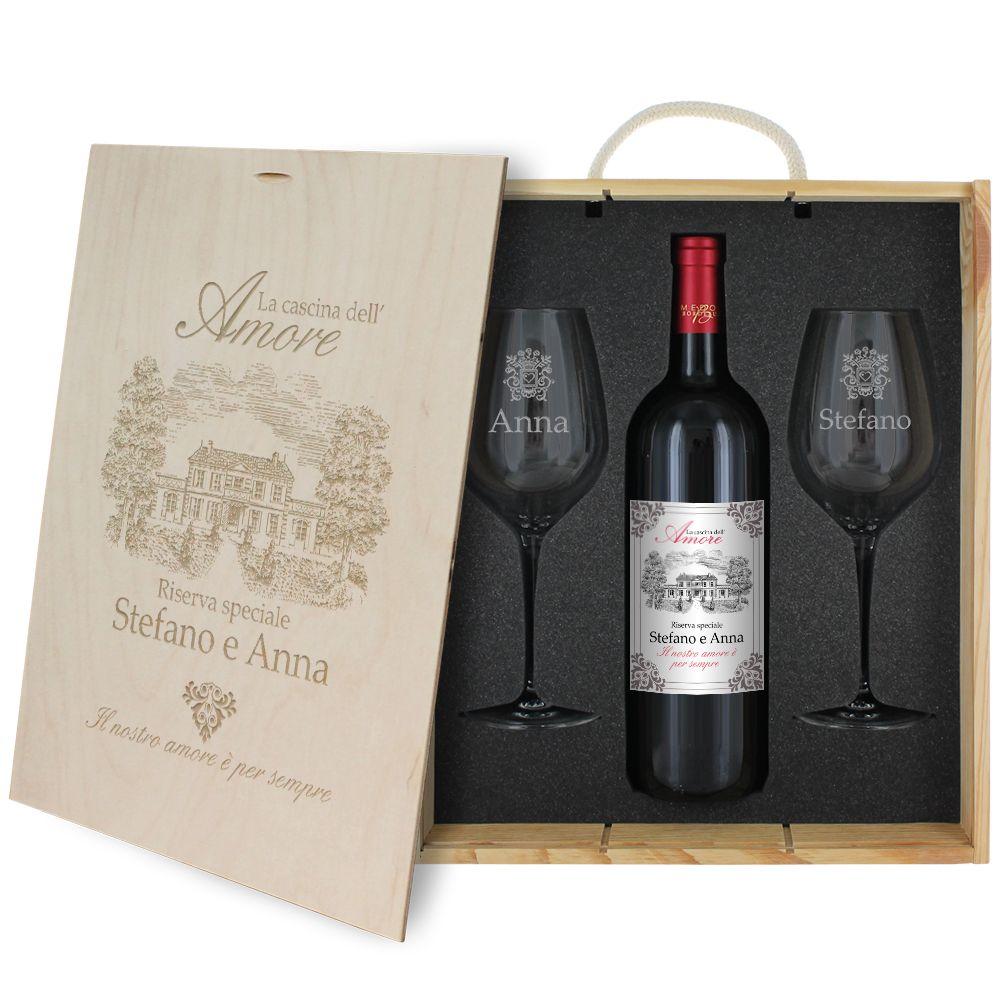 Cofanetto vino e bicchieri amore